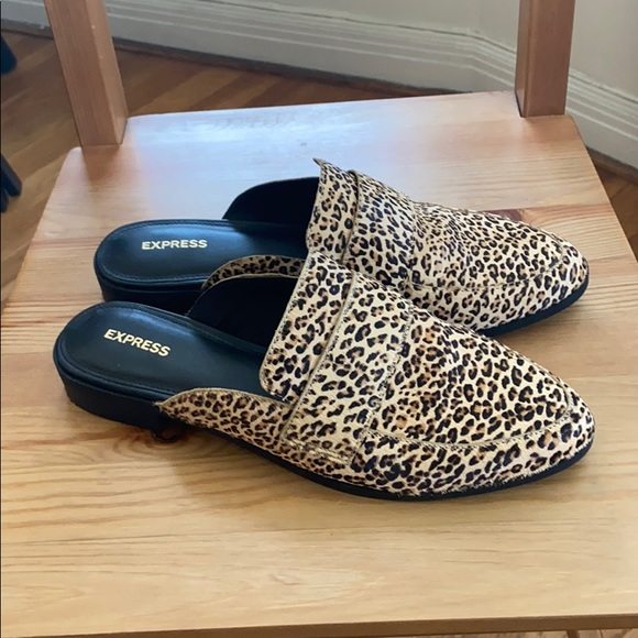 Express Shoes | Haircalf Leopard Mules